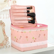 Women Make Up Bags Multi Functional Ladies Cute Pink Lace Cosmetic Storage Travel Trunk Bag Box Neceser Pouch Clutch Handbags