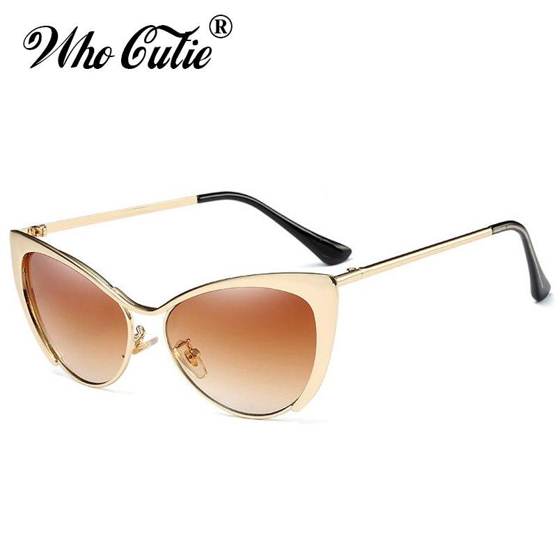 WHO CUTIE Brand 2018 Women Extreme Cat Eye Sunglasses Brand Designer Vintage Metal Frame Peak Lady Cateye Sunglasses Oculos OM64
