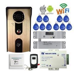 Бесплатная доставка RFID Доступа смартфон Беспроводной локальной сети Wi-Fi телефон видео домофон открытый Дверные звонки Камера + падение