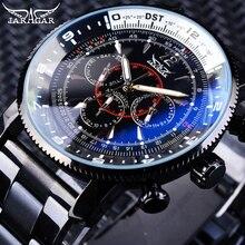 Jaragar Reloj de pulsera mecánico automático para hombre, manecillas luminosas, militares, DISEÑO DEPORTIVO, de acero inoxidable, negro, de lujo