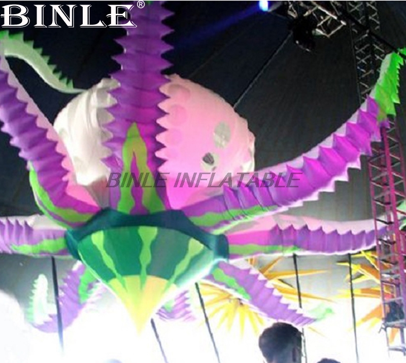 Large 5mD decoration inflatable hanging colorful led light octopus flower model for eventLarge 5mD decoration inflatable hanging colorful led light octopus flower model for event