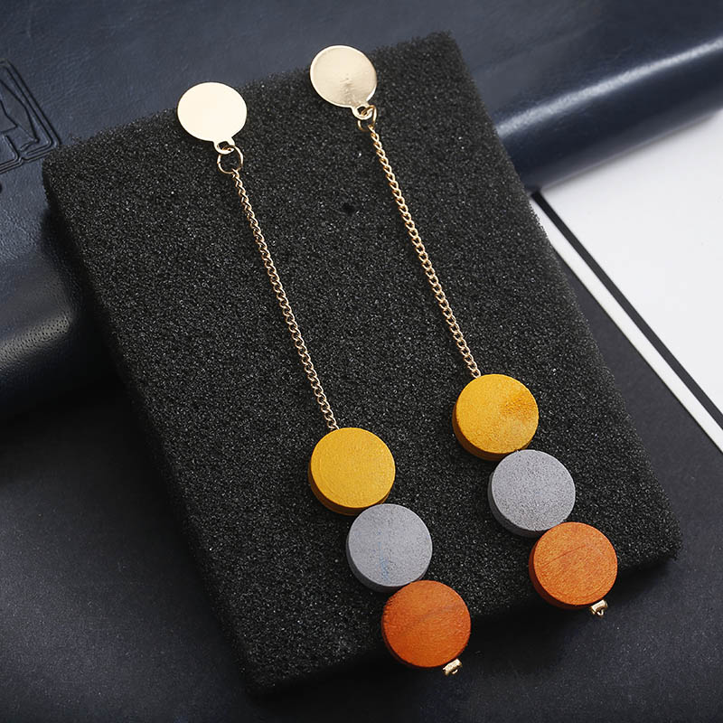 New Fashion Coloured Round Wood Tassel Earrings Simple Long Pendant Drop Earrings Girl Jewelry Gift