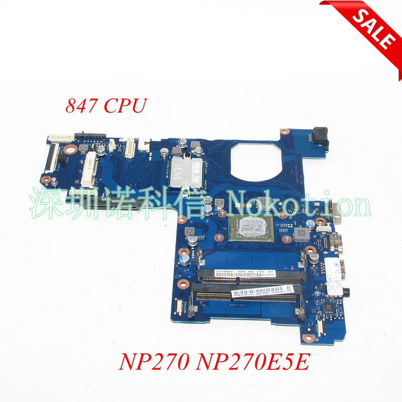 NOKOTION BA92-12169A BA92-12169B BA41-02206A Laptop motherboard For Samsung NP270 NP270E5E SR08N Celeron 847 CPU onboard ddr3 аксессуар walker c110 usb type c white