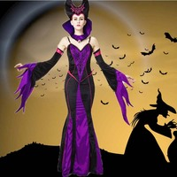 Sexy Purple Vampire Queen Bat Sleeves Stage Costumes Adult Witch Halloween Cosplay Evil Queen Spaghetti Straps Long gowns AZ091