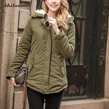 new 2017 winter women jackets cotton padded medium long slim hooded parkas casual wadded quilt snow outwear warm overcoat zipper