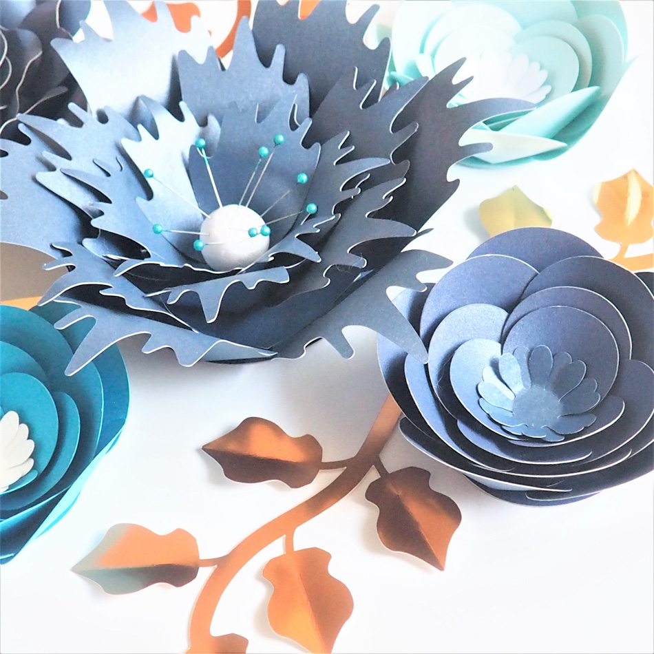 Image 3 - Handmade Cardstock Rose DIY Paper Flowers Leaves Set For Wedding & Event Backdrops Decorations Nursery Wall Deco Video Tutorials-in Artificial & Dried Flowers from Home & Garden