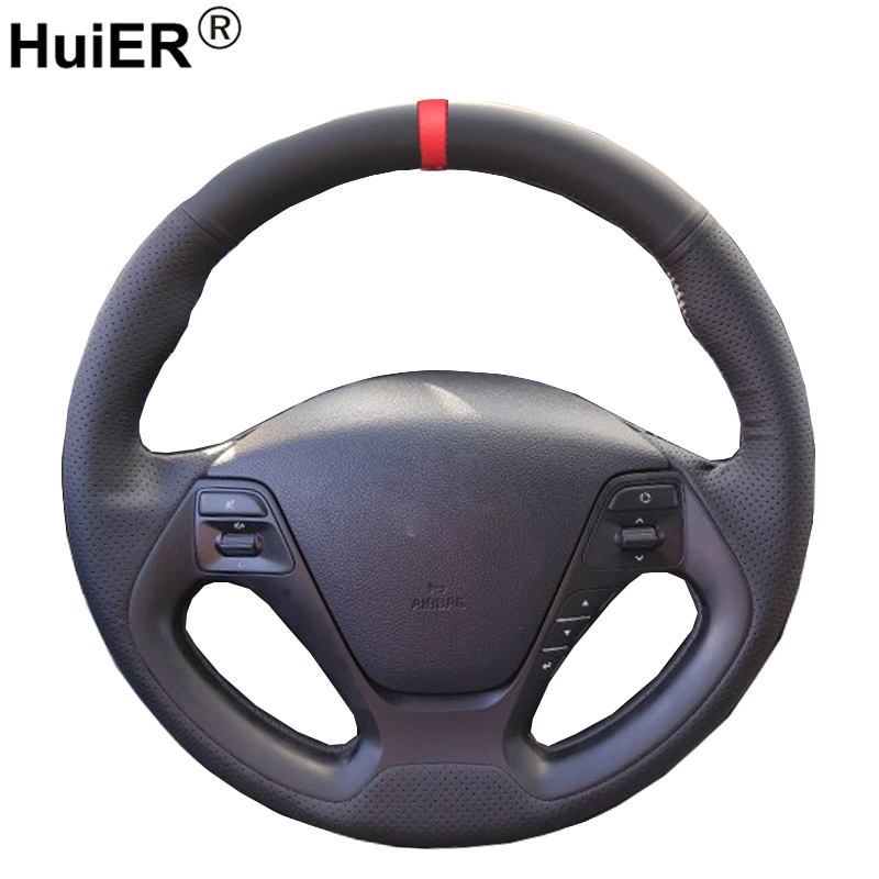 HuiER Hand Sewing Car Steering Wheel Cover Black Leather For Kia K3 2013 Kia K2 2015 Kia Ceed Ceed 2014 Kia Cerato 2013-2015