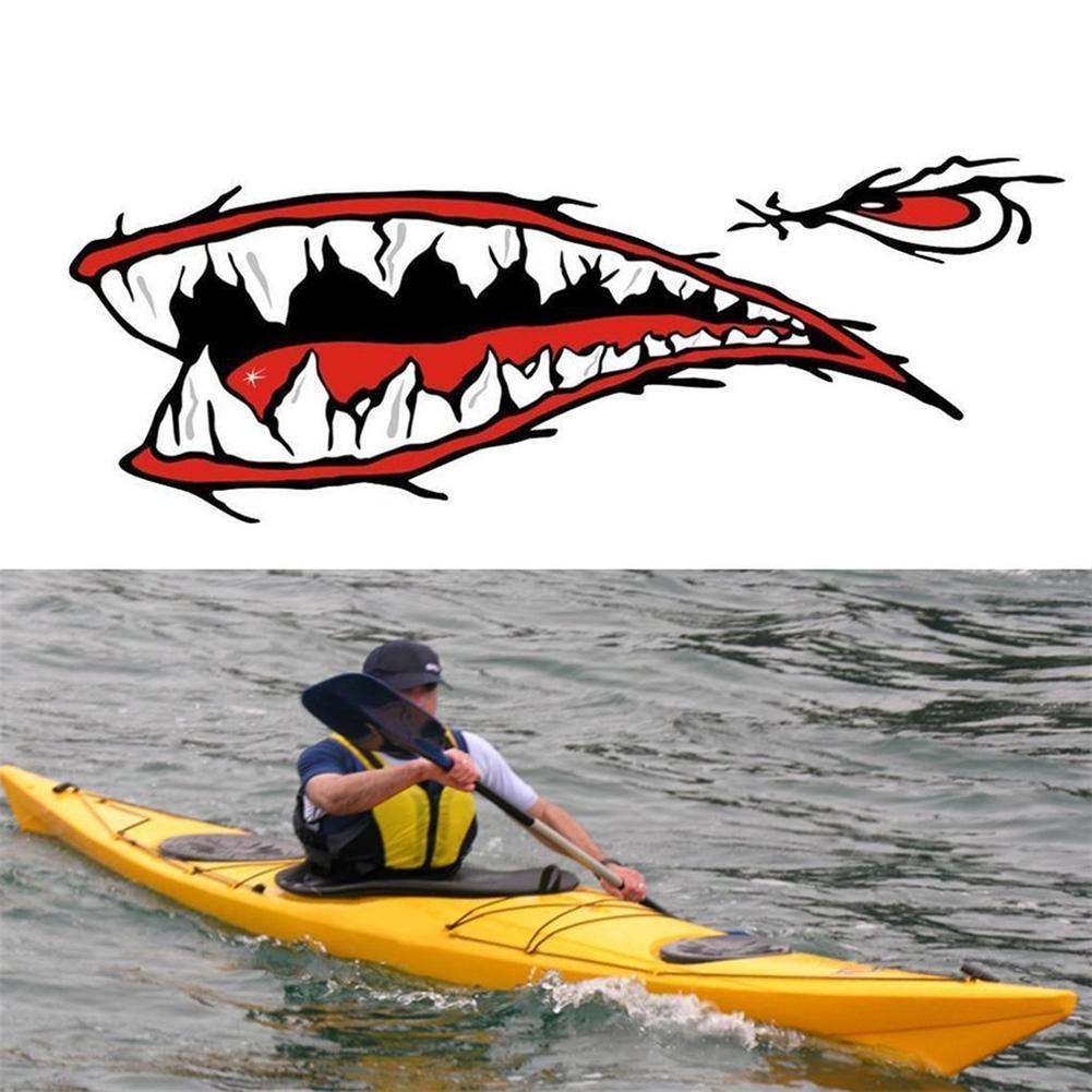 2 pcs/ensemble À La Mode Étanche Requin Dents Bouche PVC Autocollant Stickers Pour La Pêche Océan Bateau Canot Canot Accessoire