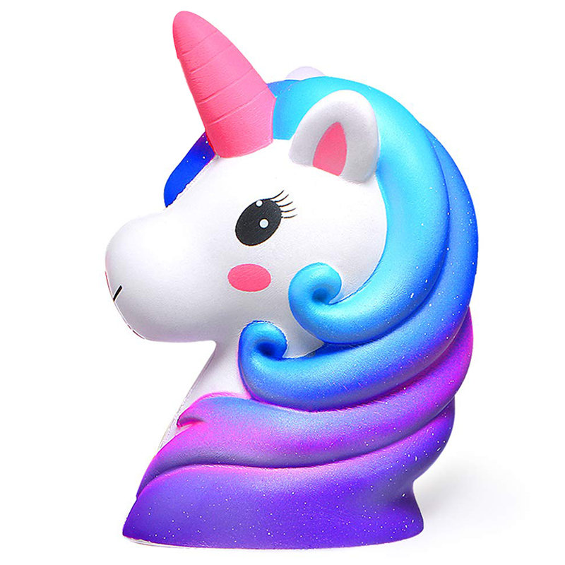 New Jumbo Colorful Galaxy Unicorn Horse Head Squishy Cute Bread Cake Scented Slow Rising Soft Squeeze Toy Fun for Kid Xmas Gift