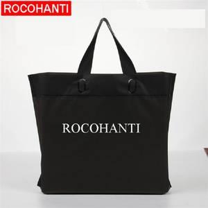 84f57d68bc ROCOHANTI Custom Logo Printed Black Plastic Shopping Bags