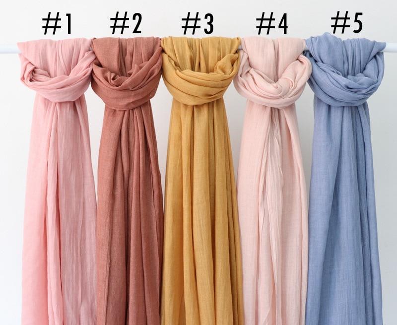 Solid Maxi Plain Hijab Scarf Shawls Muslim Scarves Soft Cotton Frayed Hijabs Pashmina Wraps Headband Scarves 10pcs/lot