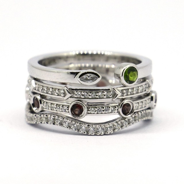 Wellmade 4pcs Set Solid 925 Sterling Silver Stack Rings