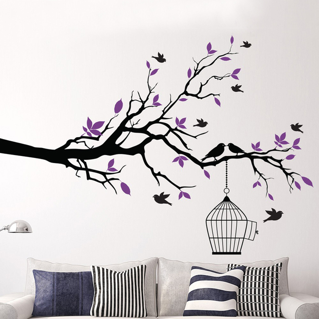 Mmctum brand tree branch with bird cage vinyl wall art birds sticker wall stickers decorative home