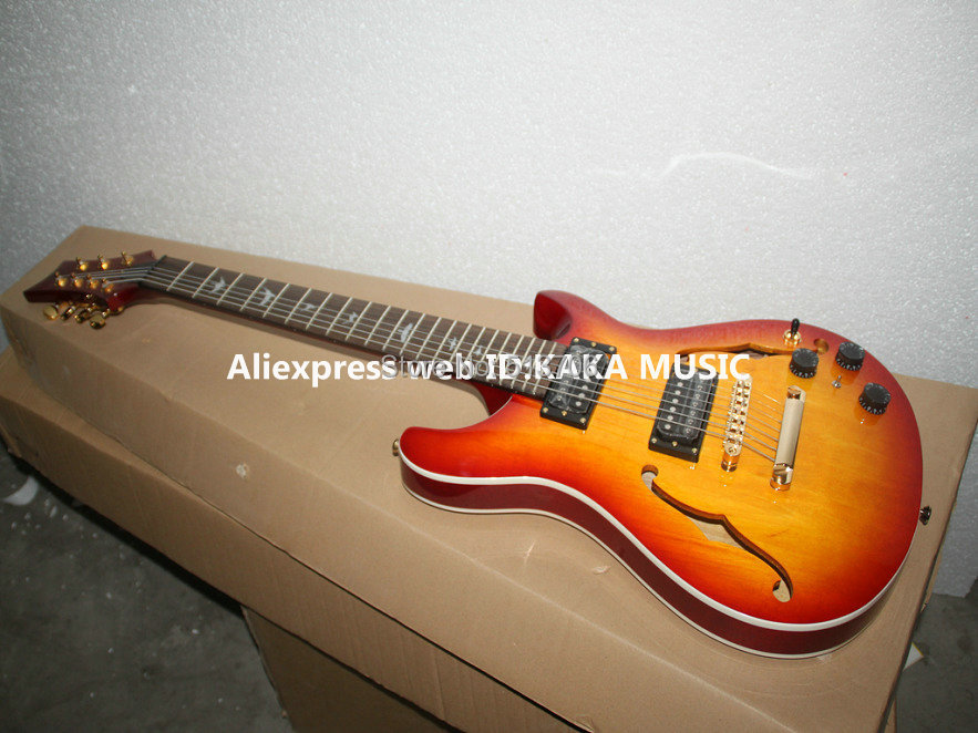 wholesale guitars cherry burst 7 strings hollow electric guitar gold hardware free shipping in. Black Bedroom Furniture Sets. Home Design Ideas