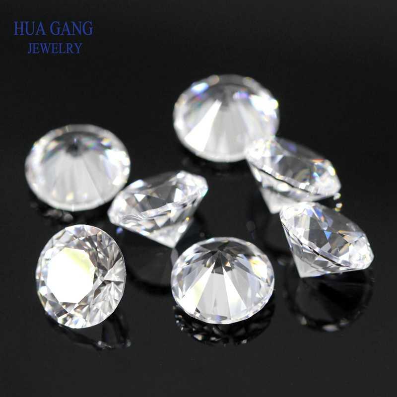 12 # 白合成石 0.8-12 ミリメートルラウンドブリリアントカット合成コランダム白石の宝石ジュエリー