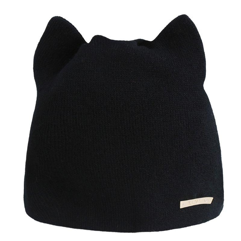 Women Knitted Crochet Solid Color   Beanie   Cap Cute Cat Ears Acrylic Fiber Ski Hat