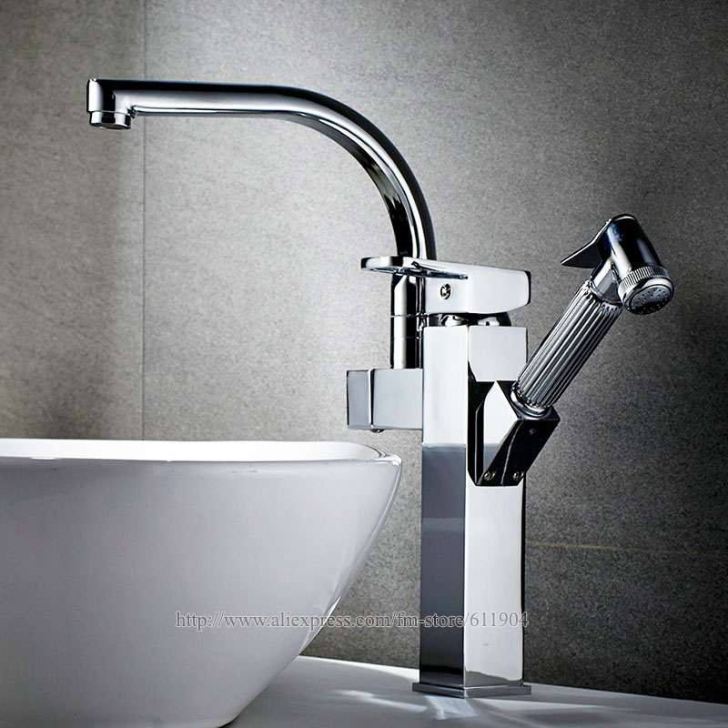 Chrome Kitchen Bathroom Faucet Brass Basin Sink faucet Mixer Tap Cold Hot Water taps Robot Design Pull Out Spray JK022CT kitchen faucet single handle hole pull out spray brass kitchen sink faucet mixer cold hot water taps torneira cozinha gyd 7111r