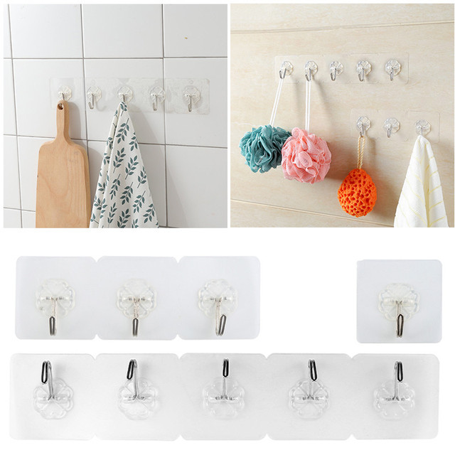 Self adhesive hooks waterproof transparent home kitchen wall door hanger seamless strong sticky hook hanger