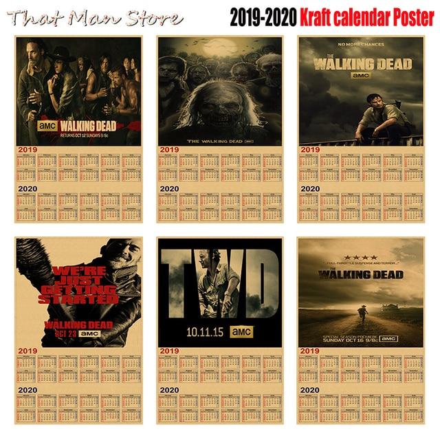 2020 Walking Dead Calendar The walking dead 2019 2020 calendar poster Vintage Retro movie
