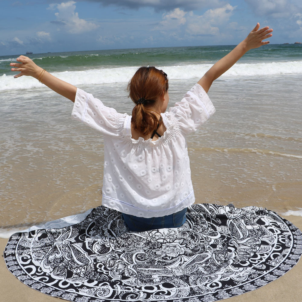 New Swimwear Bathing Suit Yoga Mat Printed Beach Cover Up Bikini Summer Dress Letter Sarong Cloak 2017