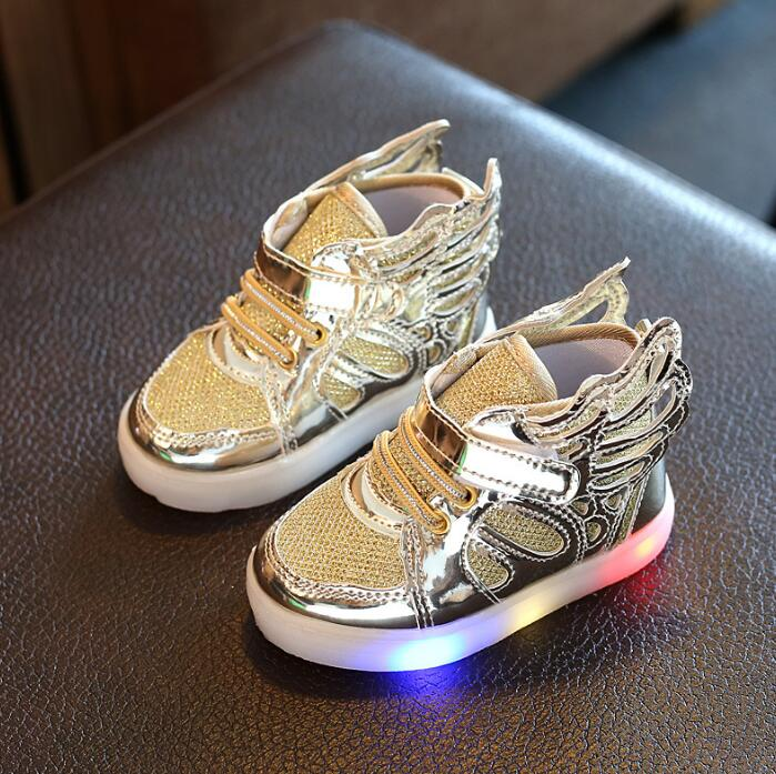 Fashion Sneakers Casual Solid Shoes Kids Casual Flat Wings Modeling Girls Boys Children Fashion led with light Shoes Kids Enfant