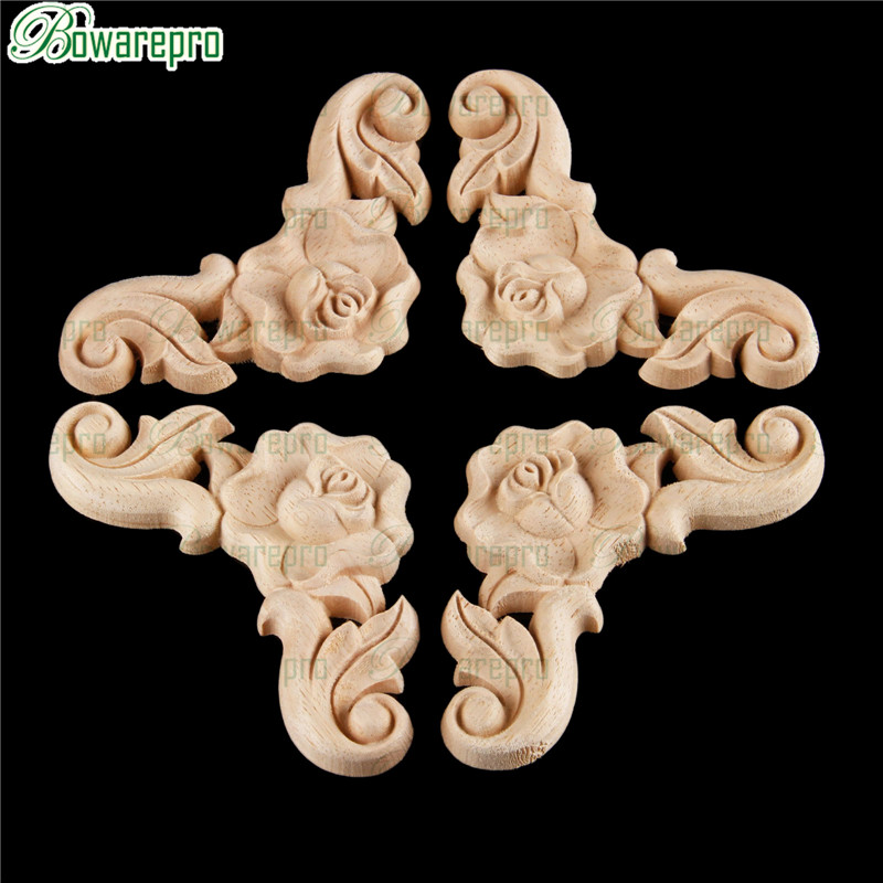 Bowarepro Rose Wood Carving Decal Angle Carved Angle Frame Wall Door Furniture Decor Crafts Retro Decoration Accessories 8cm 4/p
