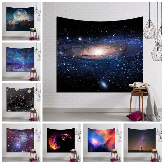 Galaxy Hängen Wandteppich Hippie Retro Wohnkultur Yoga Strand Matte 150x130 cm/150x 100 cm
