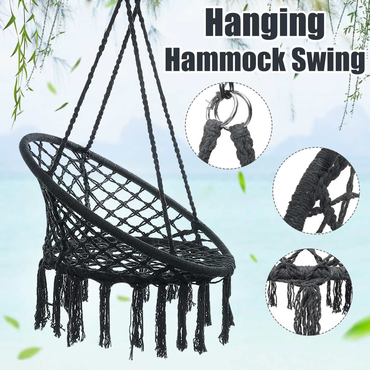 Swing Chair Rope Hammock Hanging Seat Home Garden Indoor