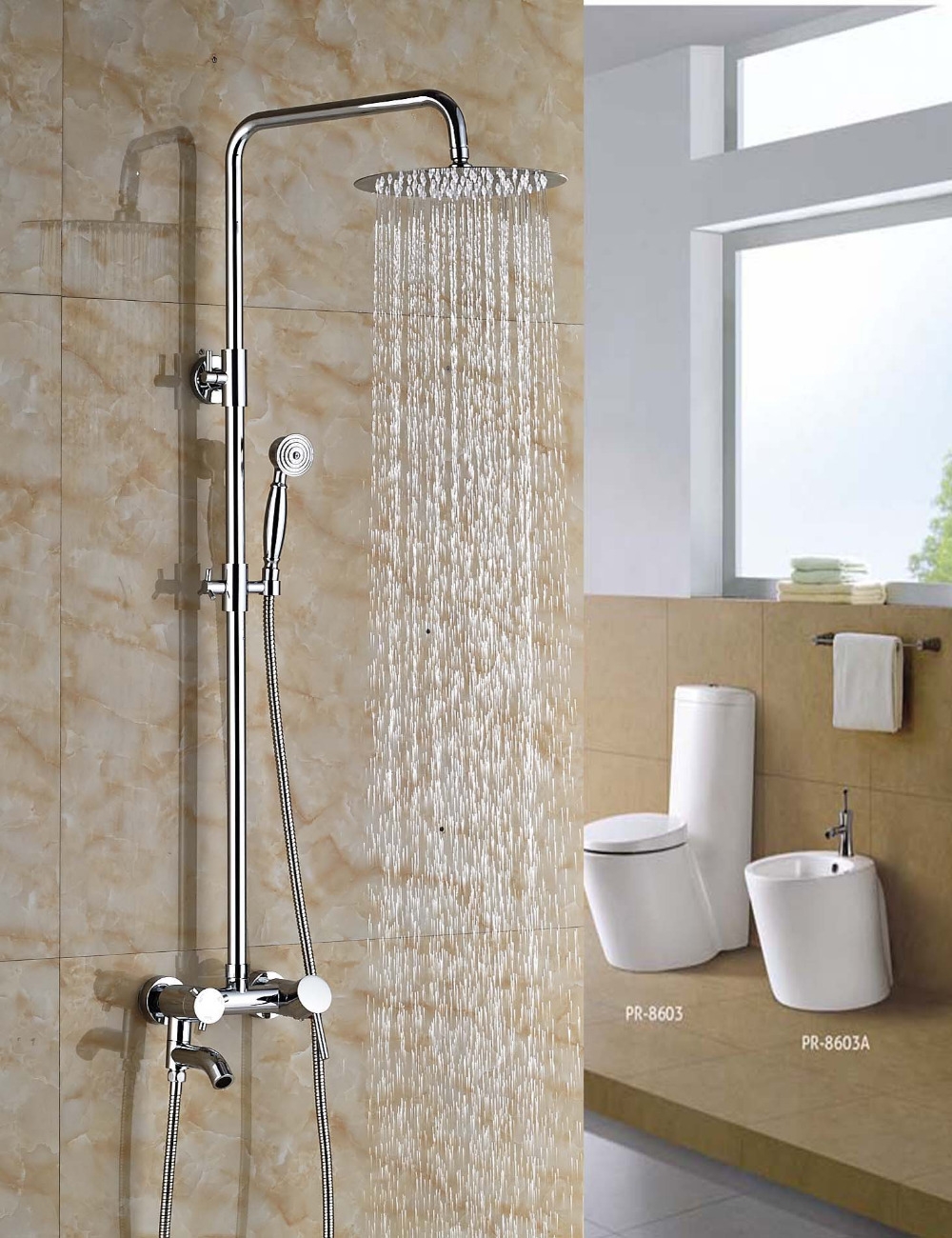 Wholesale And Retail Polished Chrome Finish Round Rain Shower Head Vavle Mixer Tap Swivel Spout W/ Hand Sprayer wholesale and retail modern chrome finish 8 inch shower faucet set rain shower head w hand shower wall mount