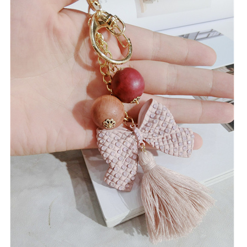Fashion Bow Tie Cotton Tassel Keychain Bead Key Ring Holder Bag Buckle Pendant For Car Keyrings Women Charms Jewelry Party Gifts