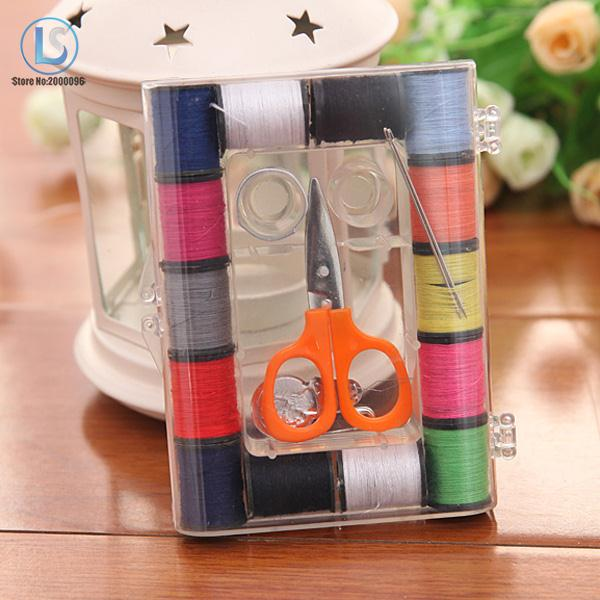 Colorful Sewing Kit Bobbin Storage Box Sewing Needle Tape Measure Scissor Thimble Kit Tool Thread Threader A231