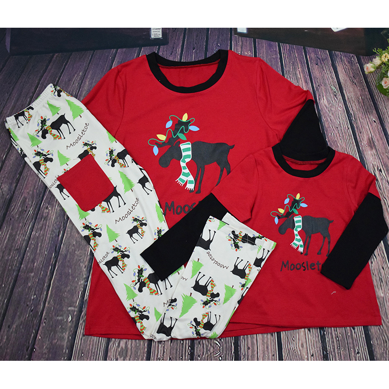 NEW Christmas family pajamas matching family pyjama set Xmas pjs new year  family look father son mother daughter moose sleepwear-in Matching Family  Outfits ... 83844e654