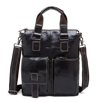 Anti-deformation quality Genuine Leather Men's handbags soft three-dimensional design casual business dark coffee briefcases