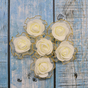 Image 5 - 20pcs 4cm שוליים נצנצים משי קצף פרחי DIY בעבודת יד מלאכותי עלה פרח ראשים לחתונה טוטו קישוט ראש פרחים