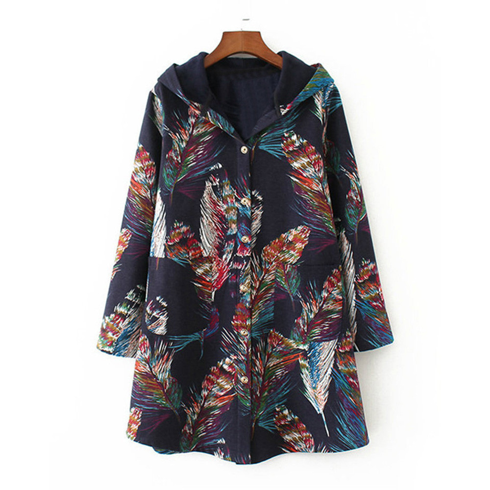 Womens Winter Warm Outwear Floral Print Hooded Pockets Vintage Oversize Coats Fashion Print Warm Windproof