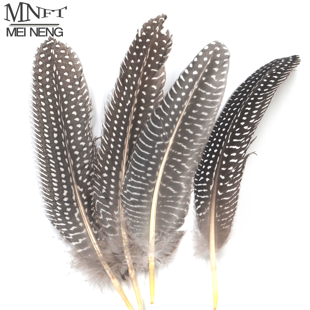MNFT 10PCS Natural Black Color White Dots Pheasant Feathers Fly Fishing Tying Material for Nymph Bait Flies 15-22cm mnft 10 colors select 0 3mm 30m copper wire fly fishing lure bait making material midge larve nymph fly tying material