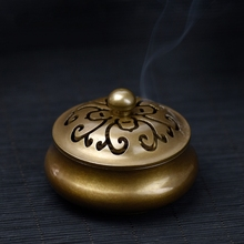 Antique solid brass incense burner censer Chrysanthemum stencil creative copper ornaments quemador incienso free shipping