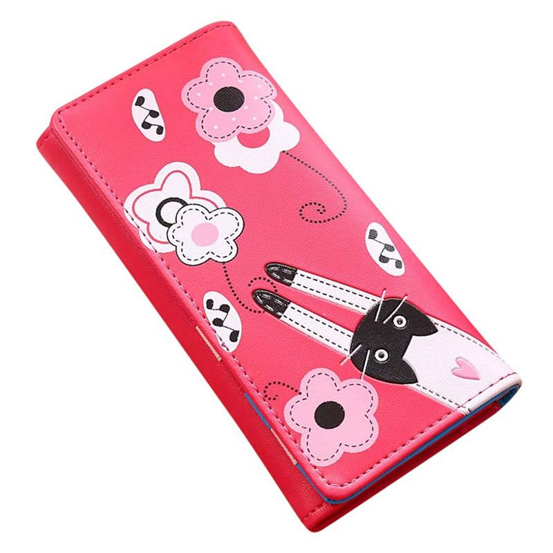 Fashion Women Cat Flowers Pattern Hasp Purse Wallet Credit Card Holders Womens Handbag PU Leather Wallets Purses High Quality ougold women wallet famous brand fashion smooth pu leather female thin hasp wallets red credit card holders
