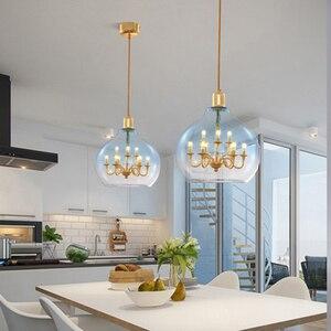Modern  Glass Ball Pendant Lights Lighting LED Gradient Pendant Lamps Living Room Bedroom Restaurant Kitchen Fixtures Luminaire