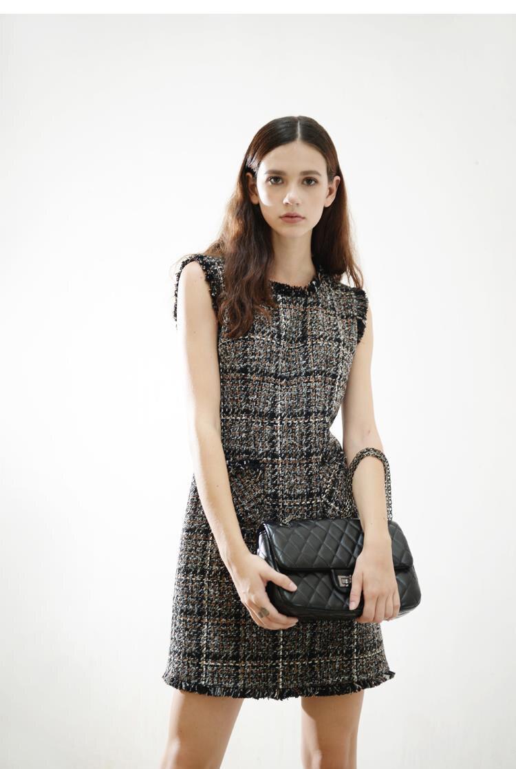 HTB1gI68QpXXXXXPXXXXq6xXFXXXx - Luxury Brand Women's Tweed Sleeveless Plaid Dress 2018 Winter or Spring Elegant Round Neck Slim A-Line Based Dress