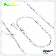 Chain Width 3MM Pearl Style Fashion Jewelry Sets 100% Stainless Steel Necklace40/50/60/70/80/90cm/Bracelet18/20/22cm gift 15 DIY(China)