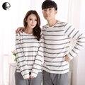 La moda de primavera otoño pijama Femme o-cuello camisa de dormir mujer pijama para mujer hombre punto de algodón Pijamas traje salón pareja