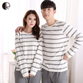 Spring Autumn Fashion Pyjama Femme O-neck Nightwear Female Pajama Sets For Women Men Knitted Cotton Pijamas Suit Couple Lounge