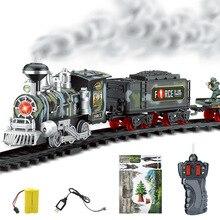 Электрический дым Радиоуправляемый железнодорожный поезд модель перезаряжаемая классический паровой поезд детский набор игрушек подарок на день рождения