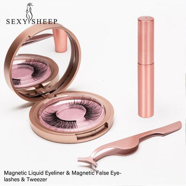 Magnetic Eyelashes Eyeliner Eyelash Curler Set5 Magnet Natural Long Magnetic False Eyelashes With Magnetic Eyeliner Tweezers Set 1