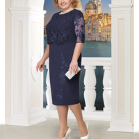 Plus Size Elegant Sexy Lace Stitching Dress Women Brand Summer Large Size Dress Office Lady Midi Party Blue Red Dresses