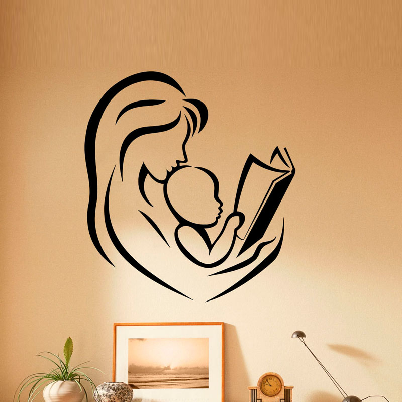 ZOOYOO Mother And Baby Reading Books Wall Stickers Home Decor Kids Children Room Nursery ...