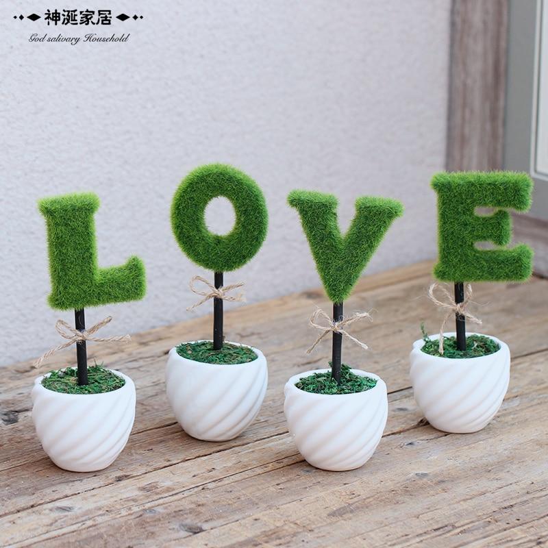 LOVE simulation of potted plants Home Furnishing jewelry small ornaments shop office desktop Mini bonsai decoration