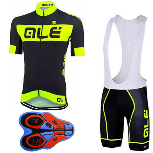 2018 Pro Team ALE Fluor Cycling Jersey short sleeve shirts bib Shorts 9D GEL PAD set Ropa Ciclismo Bicycle Bike Clothing H11