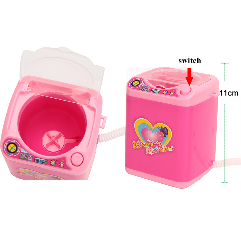 Mini Makeup Brush Cleaning Electric Blue Washing Machine Toys Pretend Play Kids Toys Children Housekeeping Toys  Gift